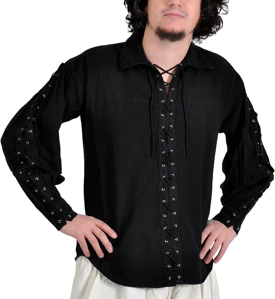 Camisa medieval con acordonado - Disfraz Pirata hombre - color negro - L: Amazon.es: Ropa y accesorios