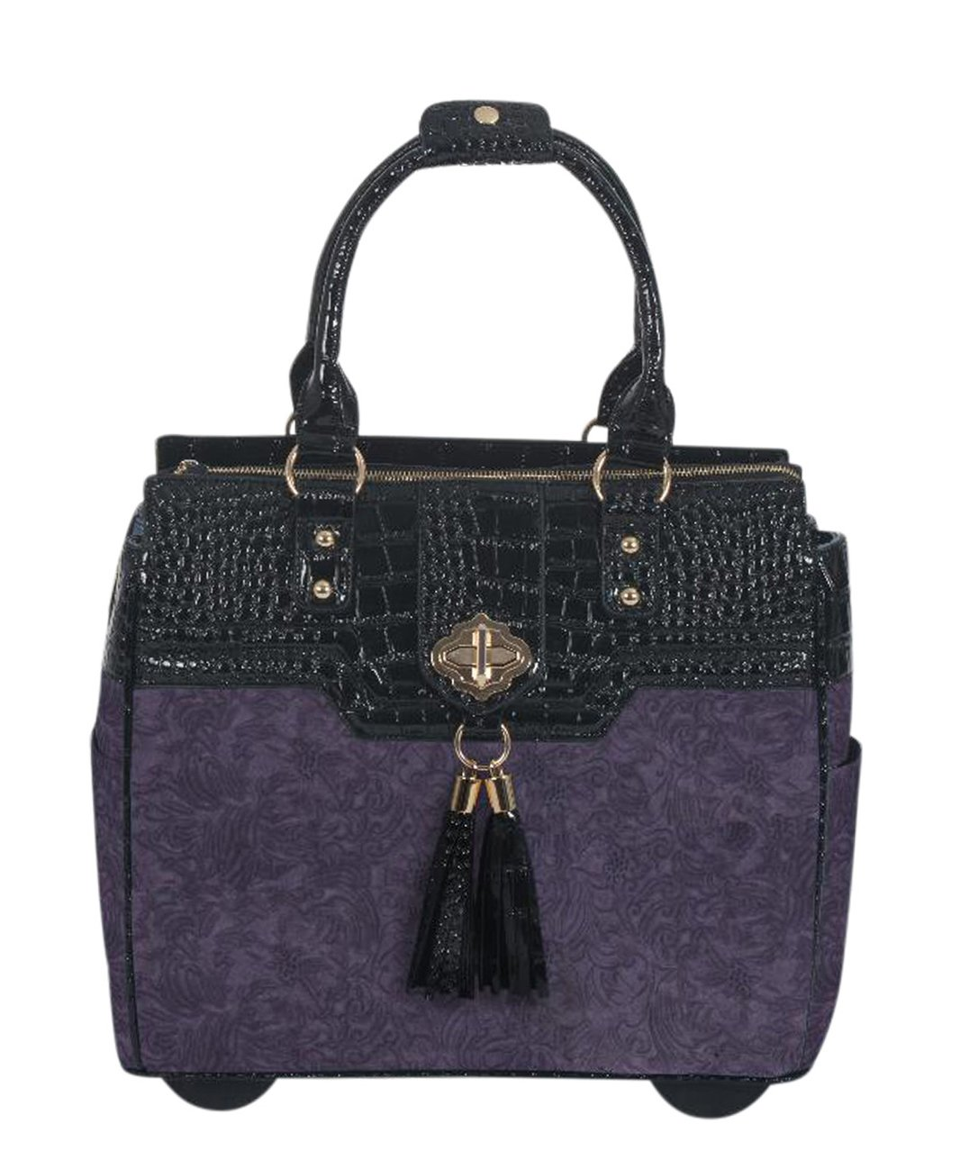 JKM and Company THE CONTESSA Purple & Black Alligator Faux Leather Computer iPad, Laptop Tablet Rolling Tote Bag Briefcase Carryall Bag