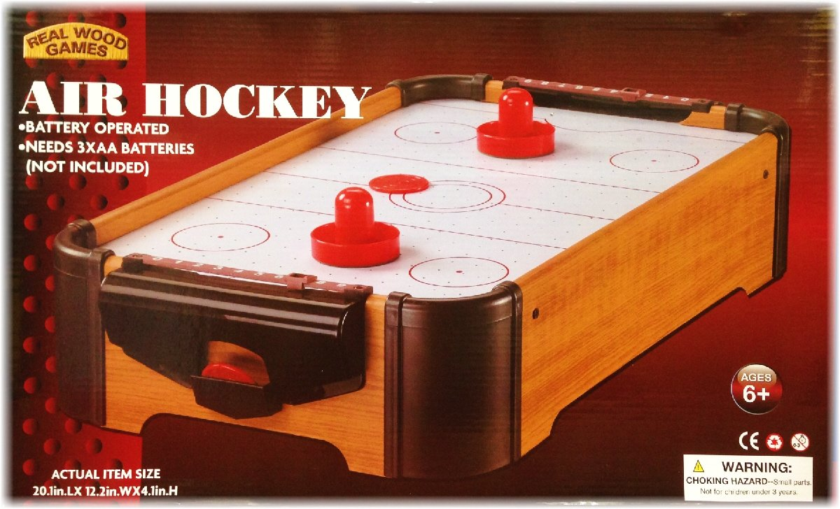 Wooden Mini Table Top Air Hockey Game Set 21 Battery Operated Homeware