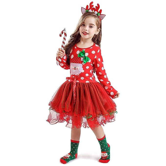 NNJXD Recién Nacido Infantil Niñas Traje de Carnaval navideño Fiesta de cumpleaños de los bebés Vestir Lunares Niños pequeños Mono Falda + Sombrero