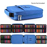 qianshan 100 120 132 144 150 colored Pencils universal Pencil Bag organizer slots holder pen case School Stationery PencilCase Drawing Painting Storage cover hard shell Pouch pencil box blue