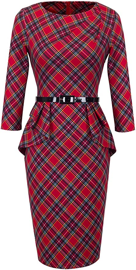 1940s Dresses | 40s Dress, Swing Dress HOMEYEE® Womens Elegant Checks Peplum Belted Bodycon Dress UKB267 £27.99 AT vintagedancer.com