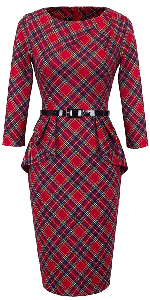 Wiggle Dresses | Pencil Dresses 40s, 50s, 60s HOMEYEE Womens Elegant Checks Peplum Belted Bodycon Dress UKB267 £21.99 AT vintagedancer.com