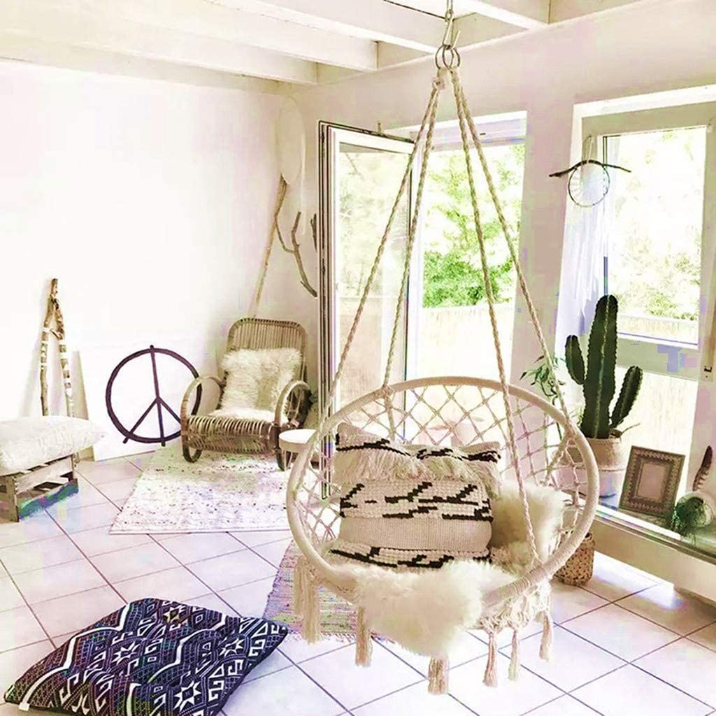 Handmade Hanging Macrame Swing Chair Bohemian Swing Seat Rocking Chair for Indoor//Outdoor Home Patio Deck Yard Garden Reading Airpow Hammock Chair White