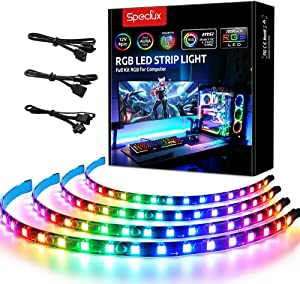 Speclux Addressable RGB LED Strip Lights, RGBIC Magnetic Strips, 4 PCS Light Strips 84LEDs for 5V 3-pin ARGB LED headers, for ASUS Aura SYNC, Gigabyte RGB Fusion, MSI Mystic Light Sync Motherboard