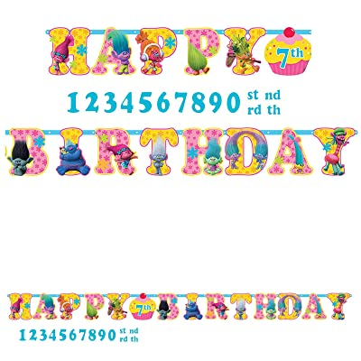 amscan Trolls The Movie Birthday Banner Add an Age Kit Birthday Party Supplies: Toys & Games