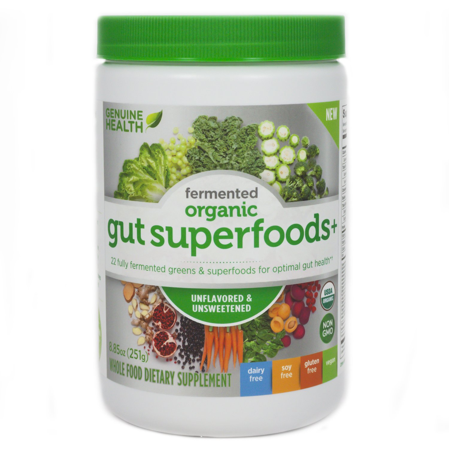 Genuine Health Fermented Organic Gut Superfoods+ (Unflavored)