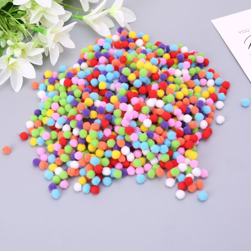 Itlovely 1000Pcs Soft Round Fluffy Craft Pompoms Ball Mixed Color Pom Poms 10mm DIY Craft by Itlovely (Image #4)