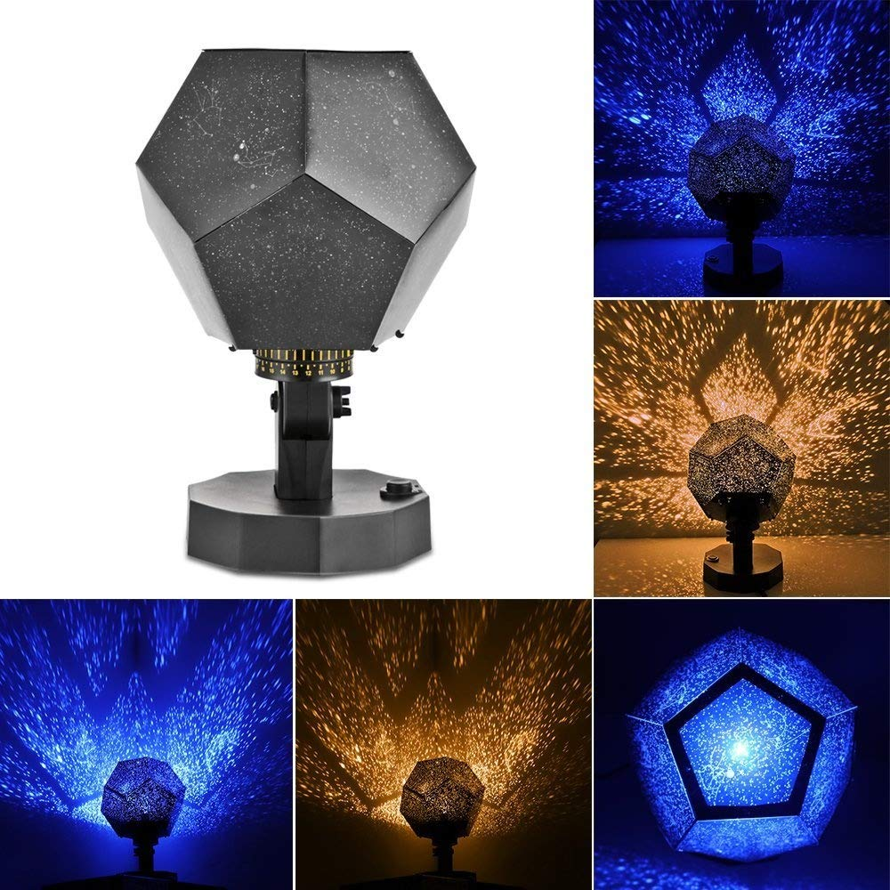 Houkiper Season Star Projector Light, Romantic Fantastic DIY Cosmos Star Lamp Twelve Constellations Pattern Science Projector Night Lamp (Yellow)