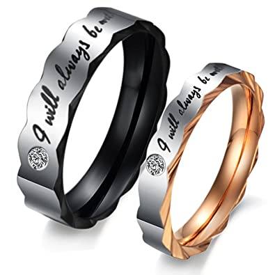 e5abe0812a JAJAFOOK 2PCS/PACK Romantic I will always be with you Couple Promise  Wedding Ring Set/Ring Necklace A Pair for Lover Amazon.com