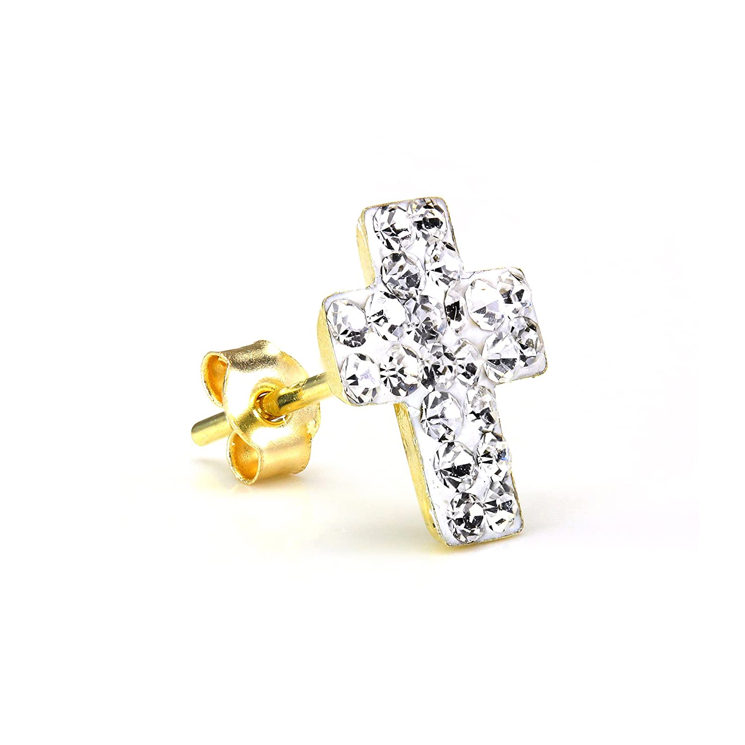 9686ef83e2c70 9ct Gold & CZ Crystal Encrusted Mens Single Cross Ear Stud Earring