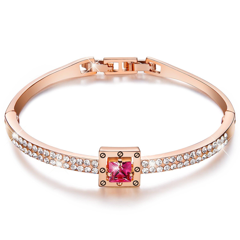 Menton Ezil 18K Rose Gold Spiritual Guidance Bangle Bracelets 7'', Made Rose Pink Swarovski Crystals, Adjustable Jewelry Womens Girls
