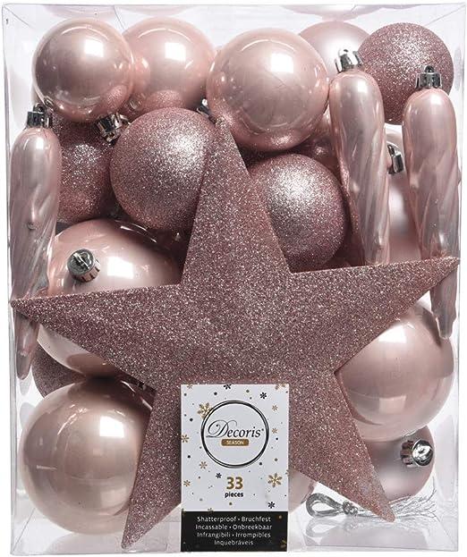 Christmas Decorations 33er Set Kunststoff Weihnachtskugeln Mix Mit Sternspitze Rosa Amazon De Kuche Haushalt