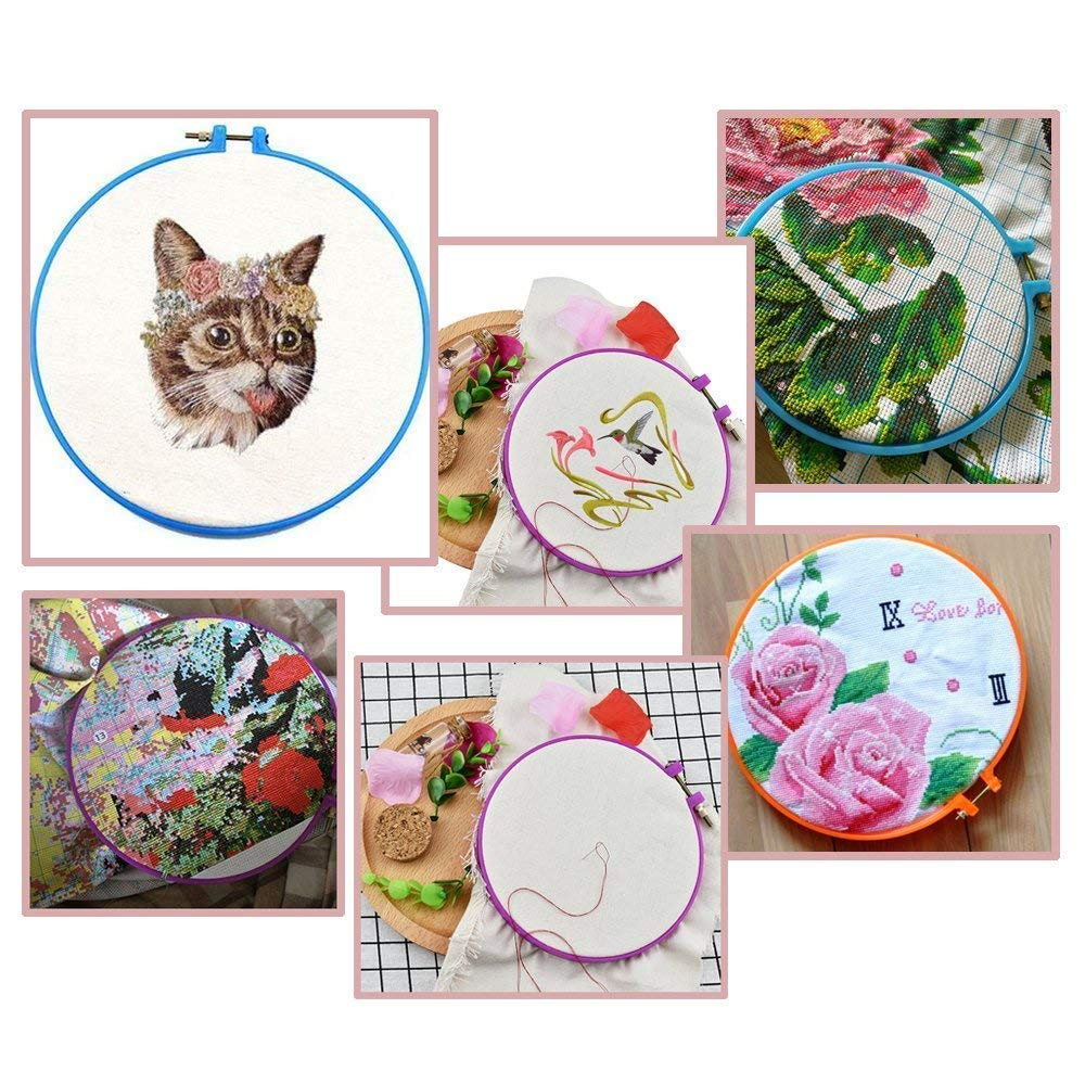 Sightui 7 Sizes 1 Pieces Embroidery Hoop Plastic Cross Circle Embroidery Hoops Circle Stitch Hoop Ring for DIY Handy Sewing Art Craft,2.8-9.8 Inches Random Color