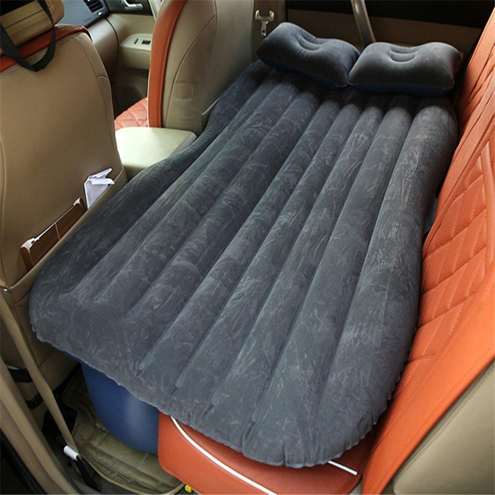 SUVカーインフレータブルマットレストラベルバックシートエアベッドキャンプリアシートスリーピングマットクッションカーショックベッドブラック B015FQDSXY Without block Without block