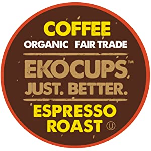 EKOCUPS Artisan Organic Espresso Roast Hot or Iced Coffee, in Recyclable Single Serve Cups for Keurig K-cup Brewers, 40 count