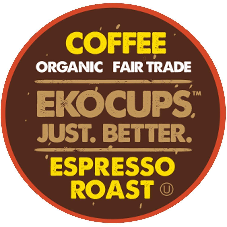EKOCUPS Artisan Organic EspressoDark Roast Coffeein Recyclable Single Serve Cups for Keurig K-Cup Brewers, 40 Count