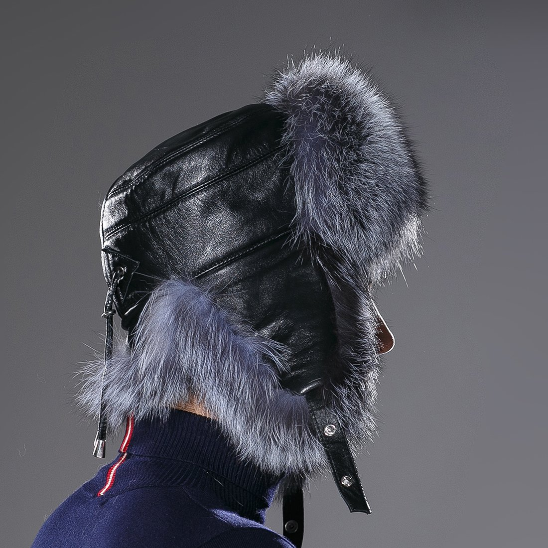 URSFUR Winter Russian Fur Hat Mens Real Silver Fox Fur Ushanka Trapper Cap by URSFUR (Image #7)