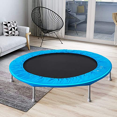 Romatlink 45 Inch Adults and Kids, Foldable Exercise Protective Pad, T-Joint Stable and Durable, Rebounder Trampoline, M, blue