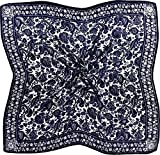 Navy Blue White Floral Print Fine Pure Silk Square Scarf