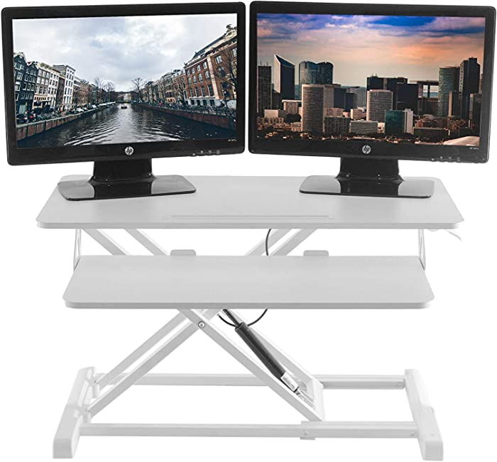 TechOrbits Standing Desk - Stand Up Desk Converter and Monitor Riser - Height Adjustable Sit Stand Tabletop Workstation White