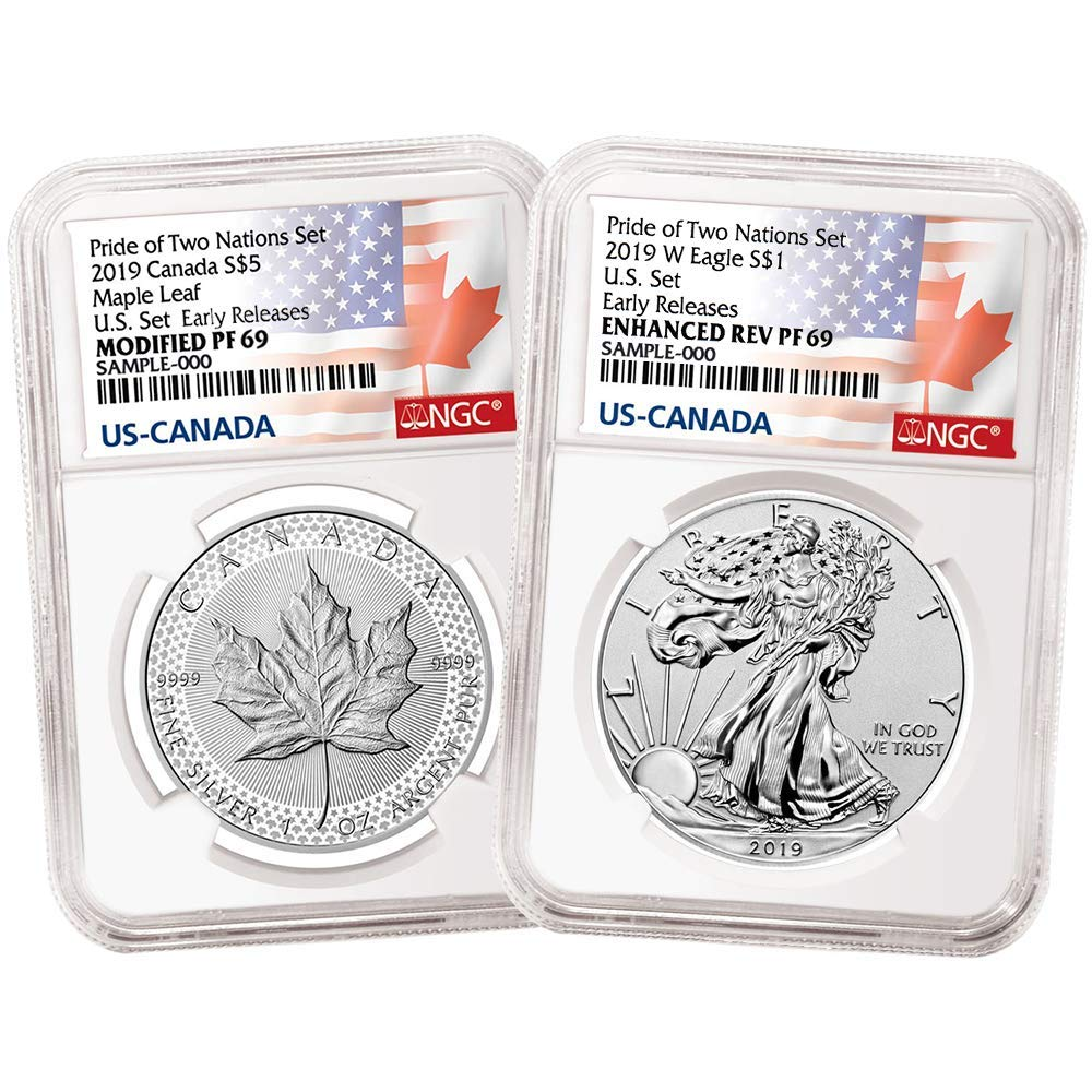 Pride of Two Nations 2019 1 oz Silver Canadian Maple NGC PF 70 ER