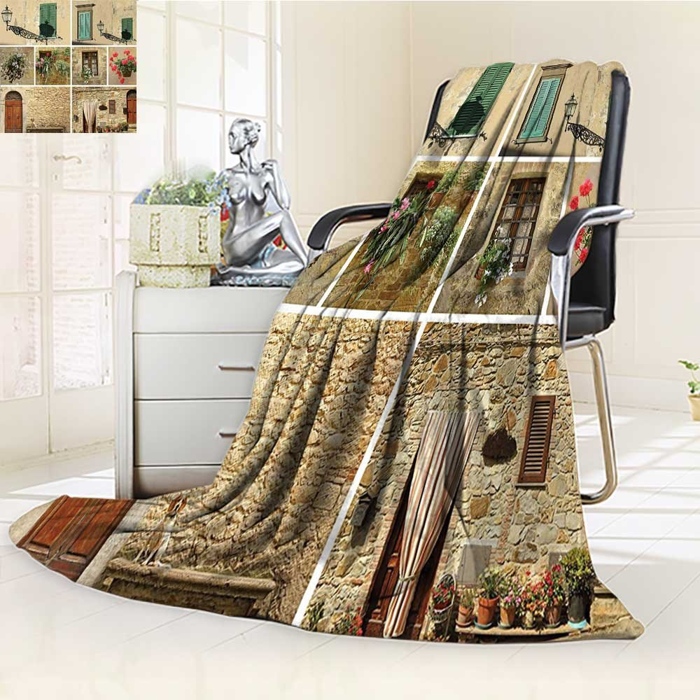 YOYI-HOME Digital Printing Duplex Printed Blanket of Italian Lifestyle with Old Classic Shutter Window and Stone Houses Print Multi Summer Quilt Comforter /W79 x H59