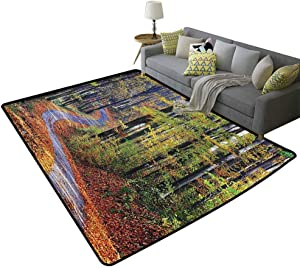 Farm House Decor Collection Kids Area Rugs Winding Path Through Fall Forest with Golden Leaves on Road Landscape Photo Children's Play mat Brown Orange Green, 5'x 6'(150x180cm)