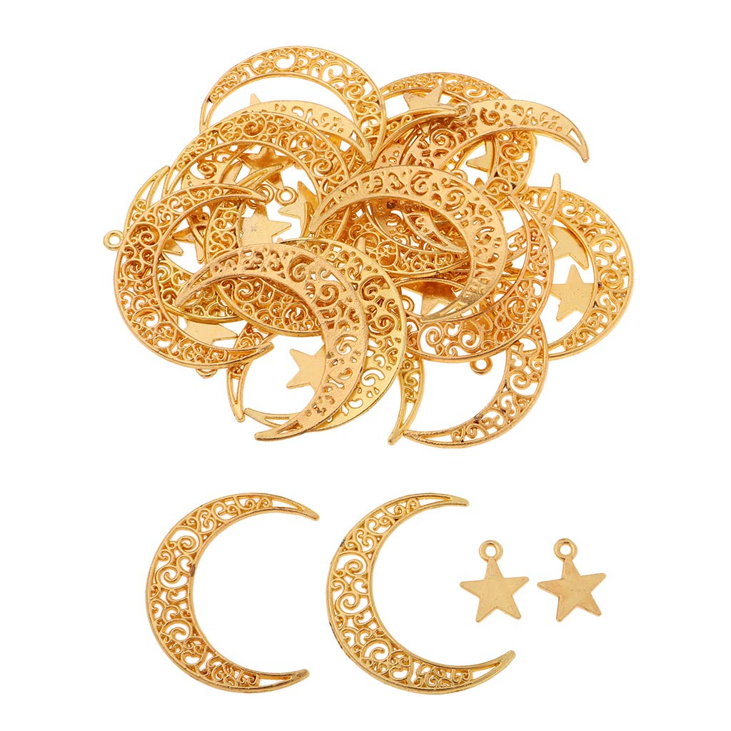 P Prettyia 50pieces Assorted Retro Moon Stars DIY Charms Pendant for Crafting Jewelry Making Accessories Golden Tone