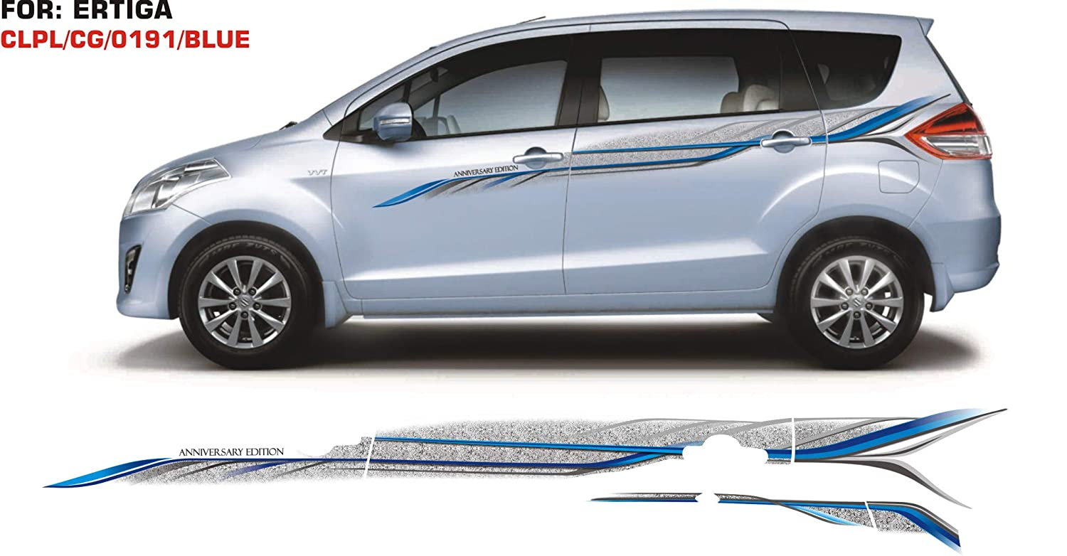 Automaze vinyl quara car side full body sticker graphics for maruti suzuki ertiga blue silver amazon in car motorbike