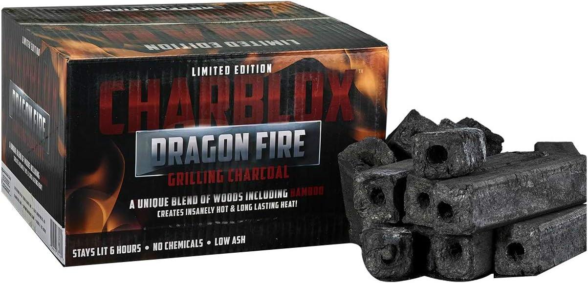 CHARBLOX Dragon Fire Bamboo Charcoal Logs - 100% Natural, Lasts 6 Hours, Eco-Friendly, Grilling/BBQ/Smoker/Big Green Egg/Kamado/Ceramic Grill/Kettle Grill/Tandoor/Robata, Binchotan Alternative (11LB)