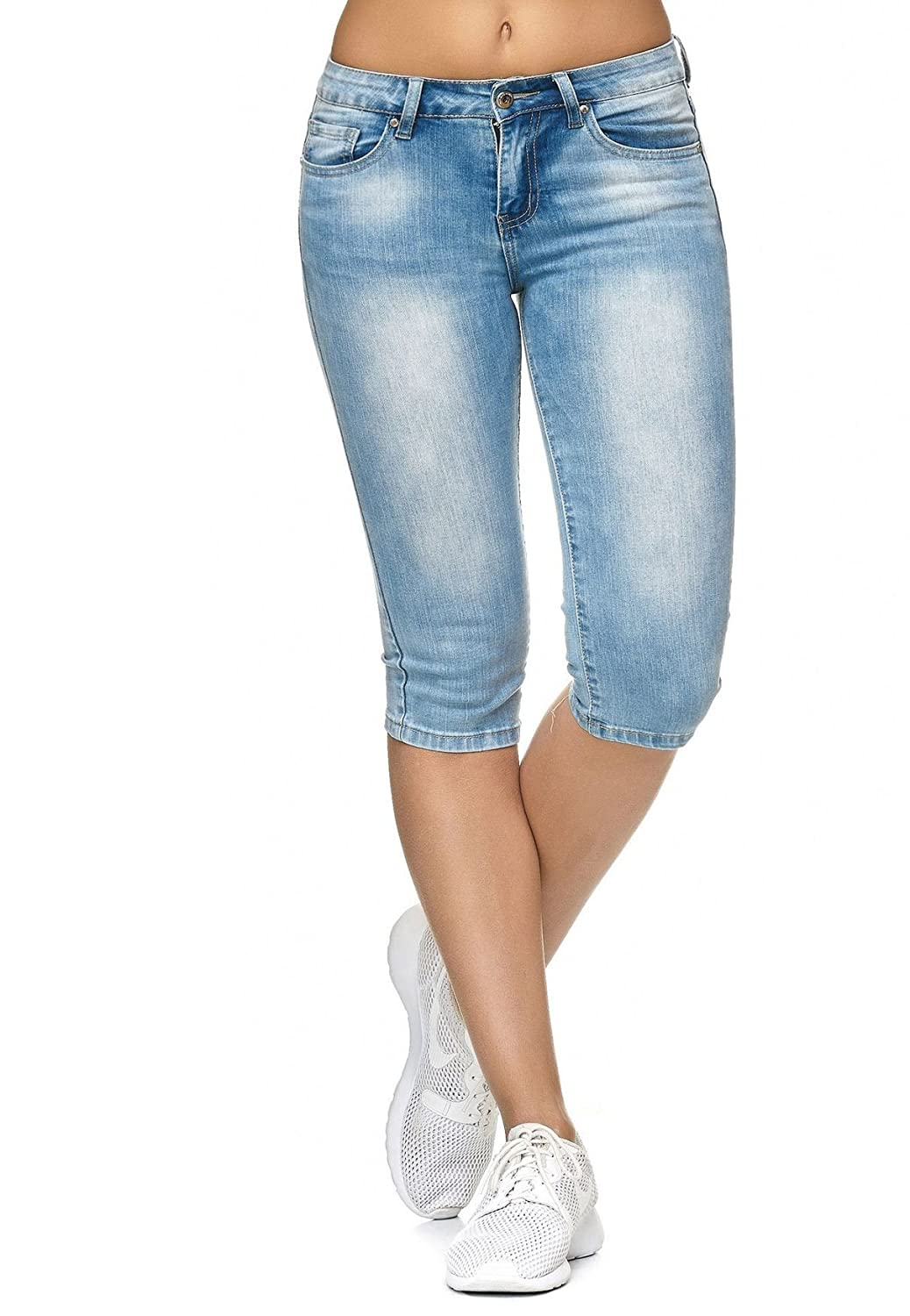 Ladie's Jeans Capri 3/4 Pants Stretch Skinny Shorts D2247
