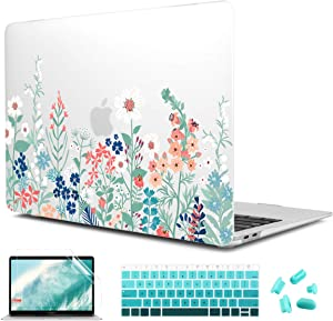 CiSoo Matte Frosted Hard Cover for New MacBook Air 13 Inch Case 2020 2019 2018 Release Model A2179 A1932 with Touch ID,Plastic Flower Pattern Hard Case with Keyboard Cover and Screen Protector