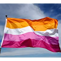 Eugenys Sunset Lesbian Pride Flag 3 x 5 Ft - Free Lesbian Necklace Included - Looks Very Nice on Both Sides - Large LGBT…