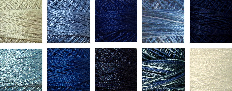 Valdani Perle Cotton Size 8 Embroidery Thread ''Sashiko Blues'' Sampler Set - 10 Colors, 73 Yards Each by Valdani