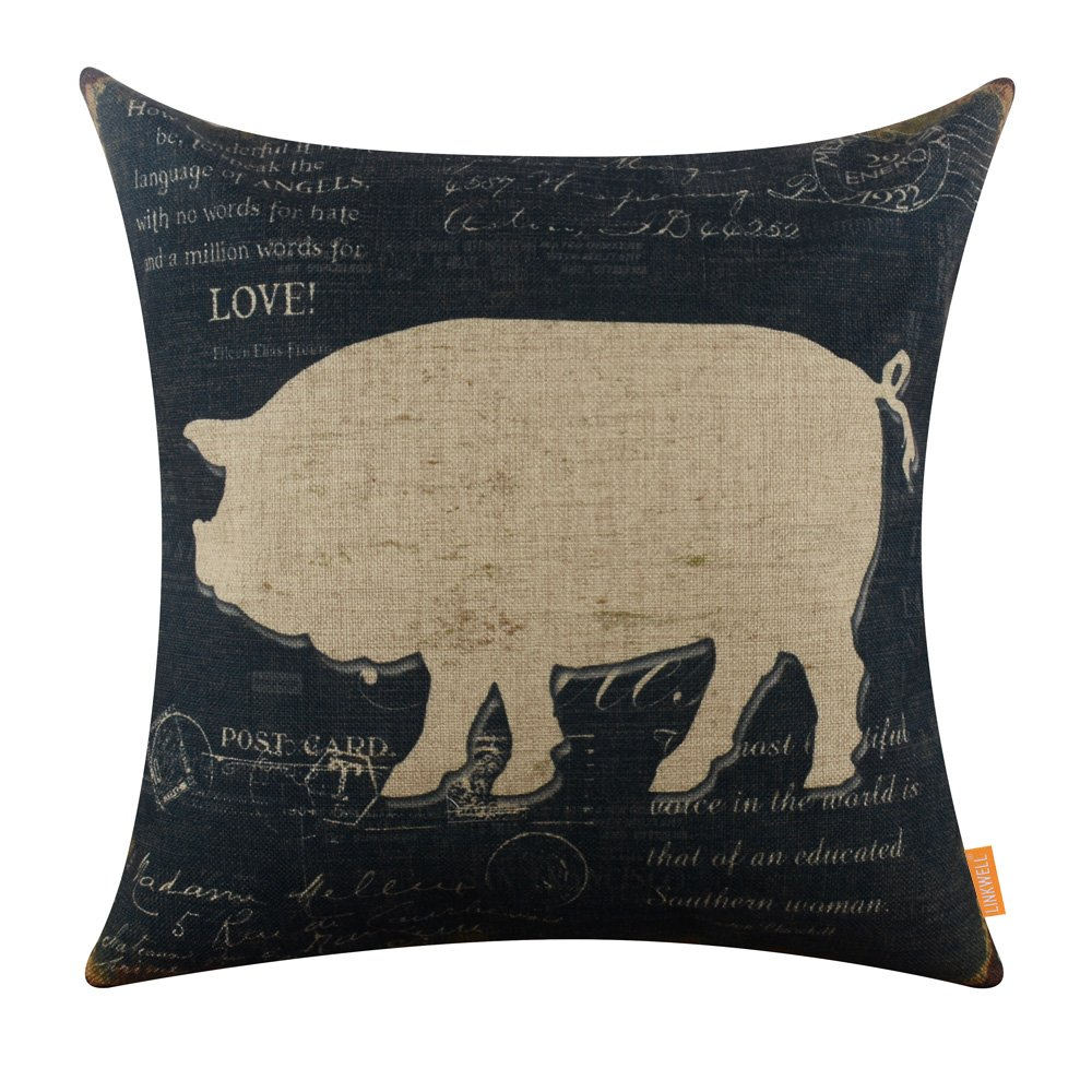 LINKWELL 18x18 inches Vintage Farm Pig Burlap Pillowcase Cushion Cover CC1245