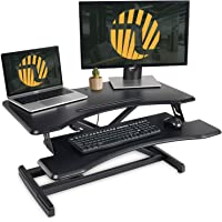 Standing Desk with Height Adjustable – FEZIBO Stand Up Desk Converter, 34 inches Ergonomic Tabletop Workstation Riser Fits Dual Monitors Black