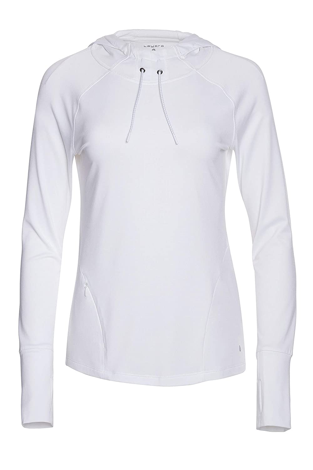 White Layer 8 Ladies Long Sleeve Hooded Top with Side Pulls