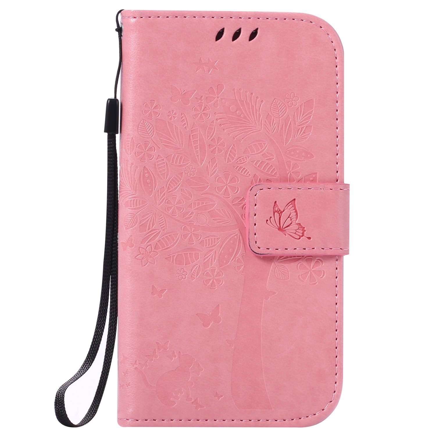 Custodia per Samsung Galaxy S4 MINI - Cover Galaxy S4 mini - ISAKEN Accessories Cover in PU Pelle Portafoglio Tinta Unita Custodia, Elegante Embossed Rose Pattern Design in Sintetica Ecopelle Libro Bookstyle Wallet Flip Portafoglio Case Cover Anti Slip Cas