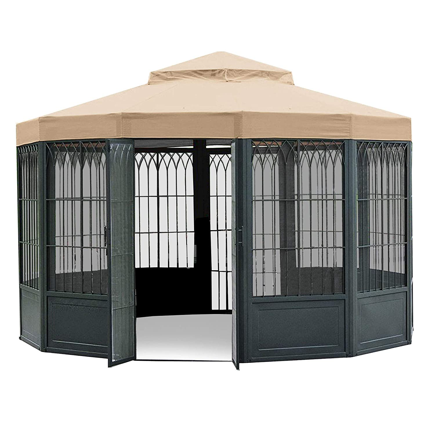Garden Winds LCM507B-RS SAMS Club Sunhouse Gazebo Riplock 350 Replacement Canopy, Beige