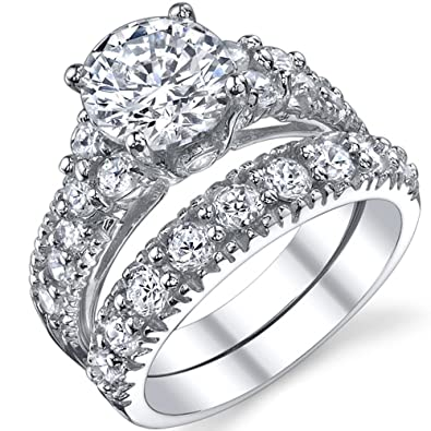 Amazoncom Solid Sterling Silver 925 Engagement Ring Set Bridal