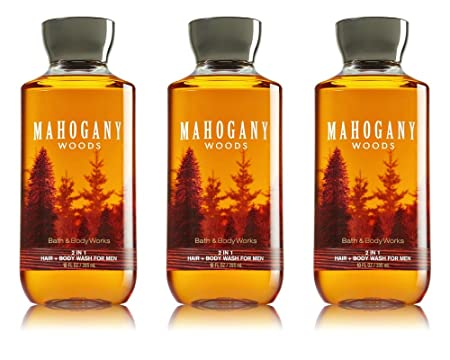 Bath Body Works 2 in 1 Hair Body Wash For Men Mahogany Woods 3 Pack