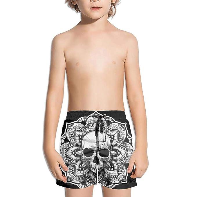 Amazoncom Fullbo Skull In Lotus Flower Little Boys Short Swim