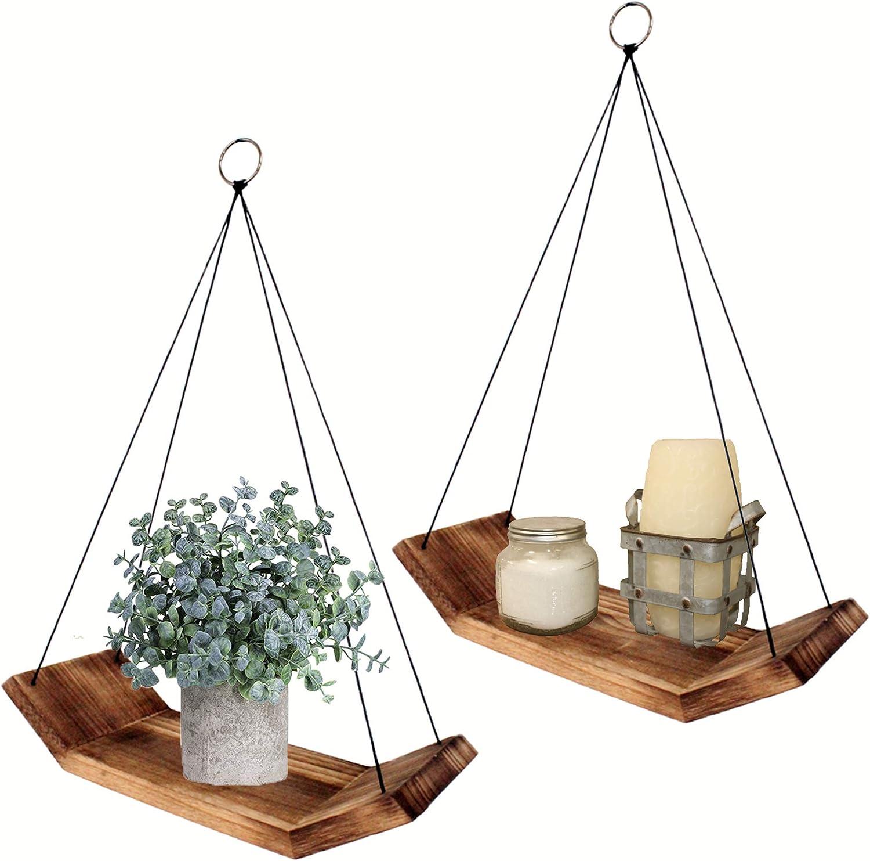 Modern Living Wood Floating Shelves -Set of 2 Solid Wooden Hanging Shelves Farmhouse Decor - Boho Hanging Plant Shelf - Bathroom Bedroom Kitchen Triangle Rope Shelves for Wall