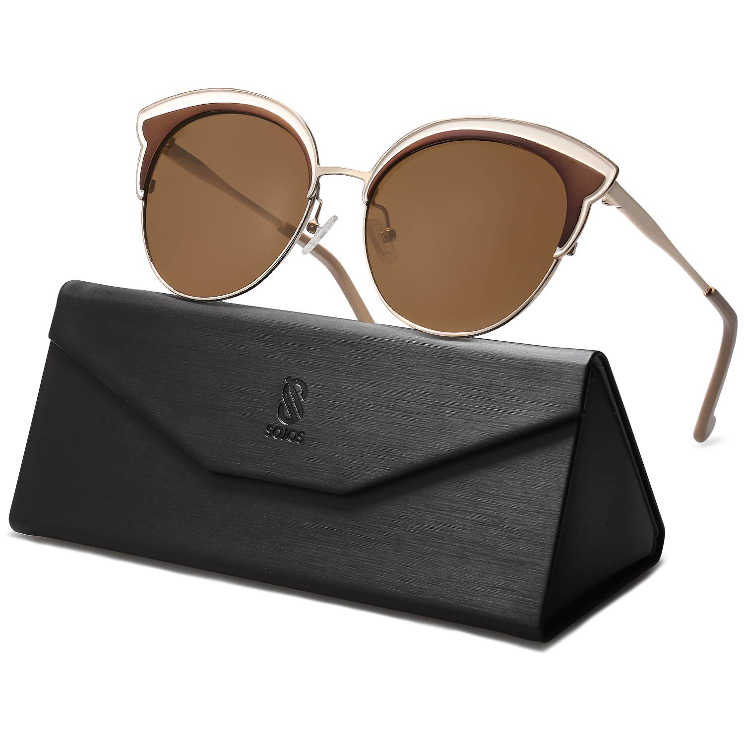 SOJOS Polarized Round Sunglasses for Women Mirrored Lens CUTIE SJ1109 with Gold Frame/Brown Polarized Lens by SOJOS