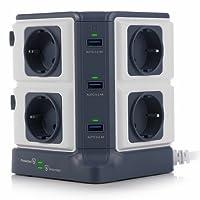 BESTEK Mehrfachsteckdose, 8 Fach Steckdosenleiste,Steckerleiste Steckdosenverteiler mit 6 USB einzeln schaltbar,1500J Überspannungsschutz und Blitzschutz 3600W