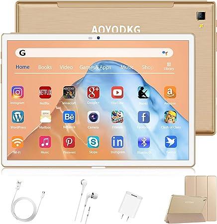 Tablet 10 Pulgadas, Android 9.0 pie Google Certificación GMS Tablet PC, 4G LTE Dual SIM, Procesador Octa-Core 1.6 GHz, HD Display, 4Go RAM + 64/128Go ...