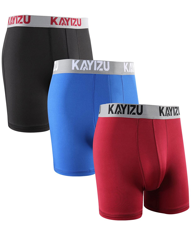 KAYIZU UNDERWEAR メンズ B075MDGDVR Medium|Black/Red/Blue- 3 Pack Black/Red/Blue- 3 Pack Medium