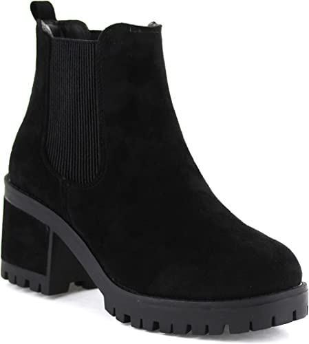 Seven7 Women's Berlin Lug Sole Double Gore Ankle Boot Micro Suede