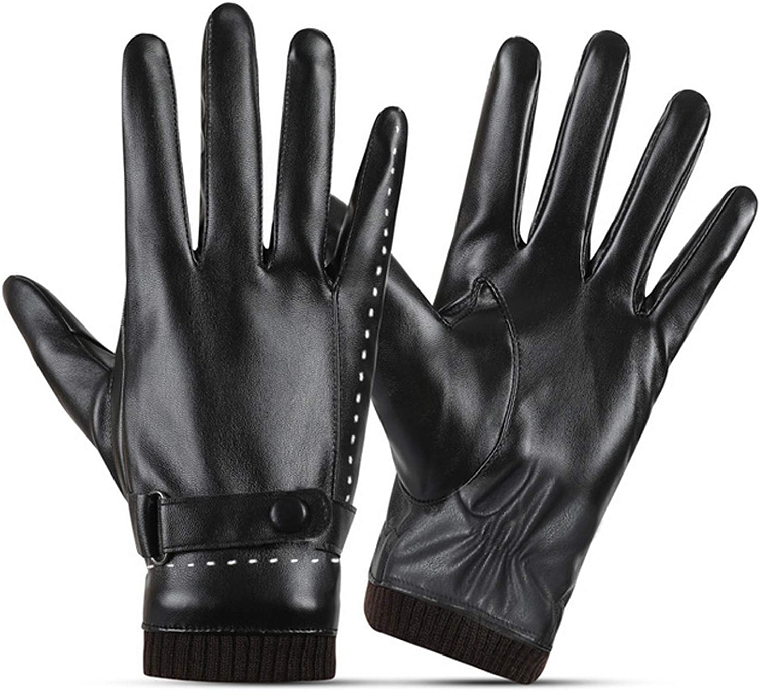 SANKUU Women Leather Gloves, Fleece Lined Winter Warm Gloves with Full-Hand Touchscreen
